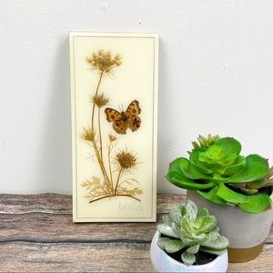 Vintage Pressed Butterfly Floral Wall Art